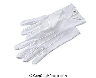 coupure, isolé, maîtres hôtel, gants, sentier, blanc