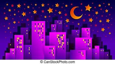 coupure, jeu, minuit, time., nuit, lune, étoiles, maisons, vecteur, ville, papier, moderne, bâtiments, vie, style, urbain, cityscape, gosses, conception, illustration, dessin animé, mignon, minimal