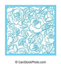 coupure, laser, mourir, ornament., leaves., vecteur, fleur, rose, modèle, coupure, silhouette
