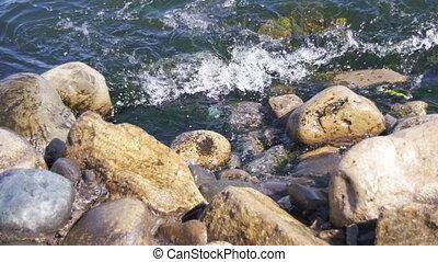 coupure, lent, contre, rochers, mouvement, mer, vagues