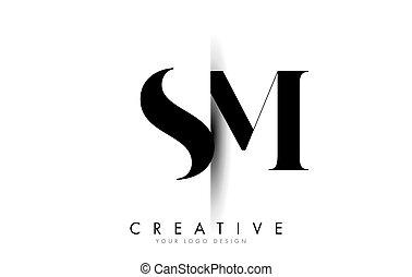 coupure, logo, s, créatif, m, design., ombre, lettre, sm