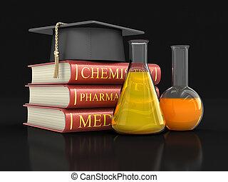 coupure, manuels, image, flasks., sentier, pile