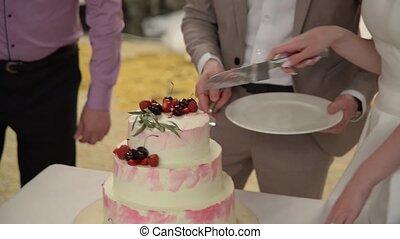 coupure, mariage, morceau, palefrenier, cake., mariée