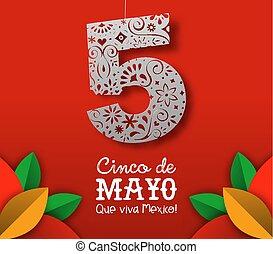 coupure, mexicain, mayonnaise, de, cinco, papier, art, carte