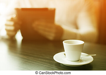 coupure, motning, lecture, coffe, nouvelles