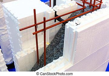coupure, mur, formwork, permanent, construction, vue