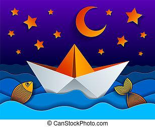 coupure, nuit, lune, papier, style., bateau, natation, illustration, mer, jouet, curvy, origami, vagues, vecteur, étoiles, beau