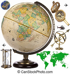 coupure, obects, -, globe, voyage