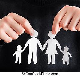 coupure, papier, formulaire, famille, tenue