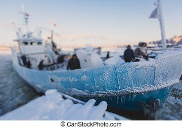 coupure, piégé, glace, congé baie, tries, icebreaker, glaciers, entre, bateau