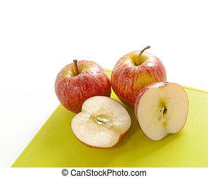 coupure, planche, découpage, pommes