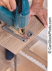 coupure, plancher, laminate, installation, charpentier, planche, parquet, flooring.