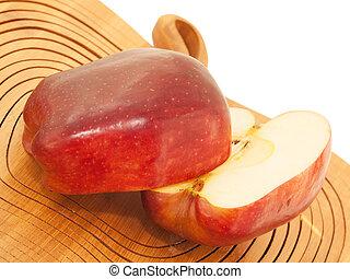 coupure, pomme, bois coupant, rouges, moitié, frais, planche