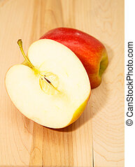 coupure, pomme, moitié