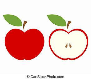 coupure, pomme, rouges