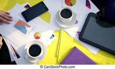 coupure, professionnel, café, businesspeople, avoir