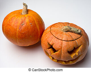 coupure, pumpkin., lampe, cric, entier, dehors