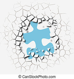 coupure, puzzle, solution, morceaux, percée, problème