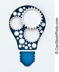 coupure, render, lumière, copyspace, papier, engrenages, ampoule, 3d