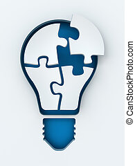 coupure, render, lumière, copyspace, puzzles, papier, ampoule, 3d