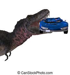 coupure, rendre, sur, tarbosaurus., dinosaure, sentier,...
