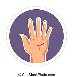 coupure, saignement, égratignure, abîmer, main, peau, blessure