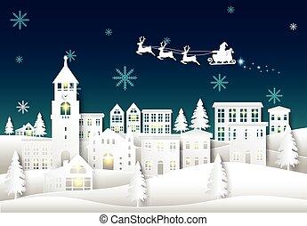 coupure, santa, ville, noël, arrière-plan., ciel, papier, hiver, ville, style, nuit, art, illustration, saison