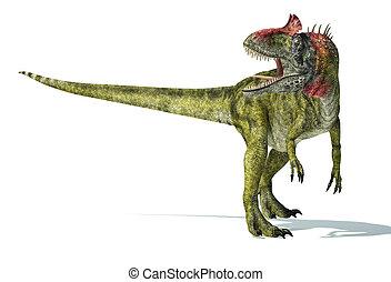 coupure, scientifiquement, representation., cryolophosaurus,...