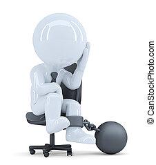 coupure, sien, business, enchaîné, isolated., concept., contient, triste, chair., sentier, homme