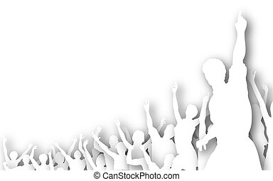 coupure, silhouette, foule