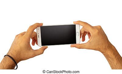 coupure, smartphone, écran, vide, isolé, fond, tenant mains, sentier, blanc