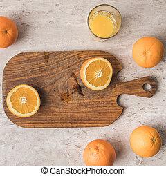 coupure, sommet bois, planche, orange, vue