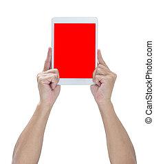 coupure, tablette, écran, mains, sentier, blanc, isolé, rouges