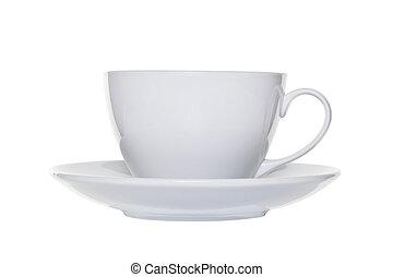 coupure, tasse, thé, blanc, soucoupe, dehors