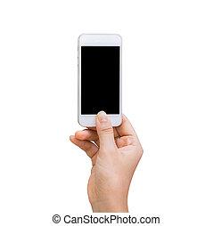 coupure, tenue, écran, isolé, main, téléphone, femme, intérieur., sentier, blanc