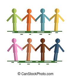 coupure, tenue, coloré, gens, isolé, papier, fond, mains, blanc