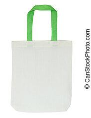 coupure, tissu, isolé, sac, fond, sentier, blanc