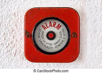 coupure, verre, -, vieux, alarme-incendie