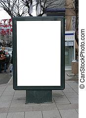 coupure, vertical, affiche, -, une, inclure, vide, panneau affichage, sentier
