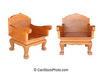 coupure, vieux, bois, isolé, sentier, chaise