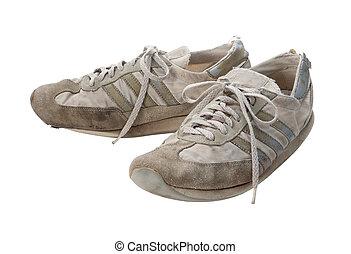 coupure, vieux, chaussures, isolé, courant, sentier