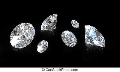 coupure, vieux, peu, diamants, rond, européen