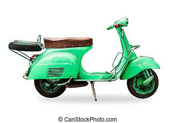 coupure, vieux, vendange, isolé, motocyclette, sentier