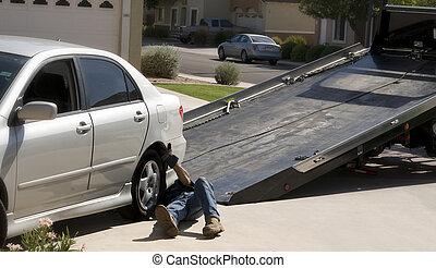 coupure, voiture, haut, bas, camion, cueillette