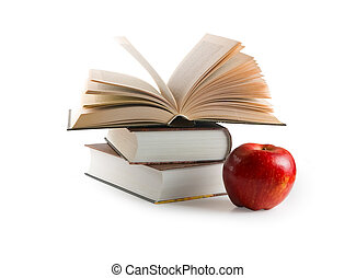 coupure, (with, livres, path), pomme rouge