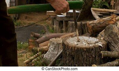coupures, homme, haut, construction., bois, rural, hache, ...