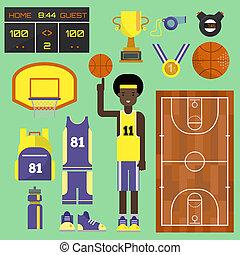 cour basket-ball, champion, uniforms., joueur, athlétique, set., jeu, concurrence, équipement sports, courant, concept, chaussure, équipe, sport professionnel, éléments, récréation