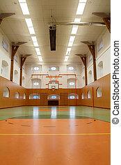 cour basket-ball, gymnase, intérieur, public, vide