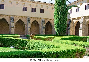 cour, célèbre, de, monasterio, piedra