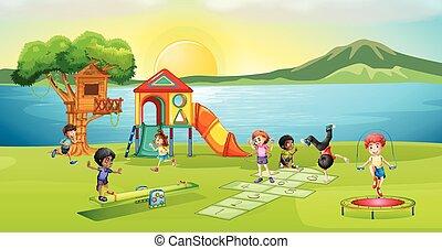 cour de récréation, coucher soleil, jouer, enfants